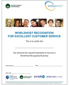 WorldHost recognition for excellent customer service certificate