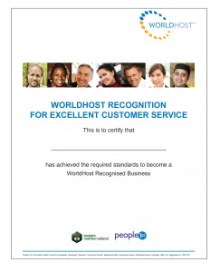 WORLDHOST business recognition certificate