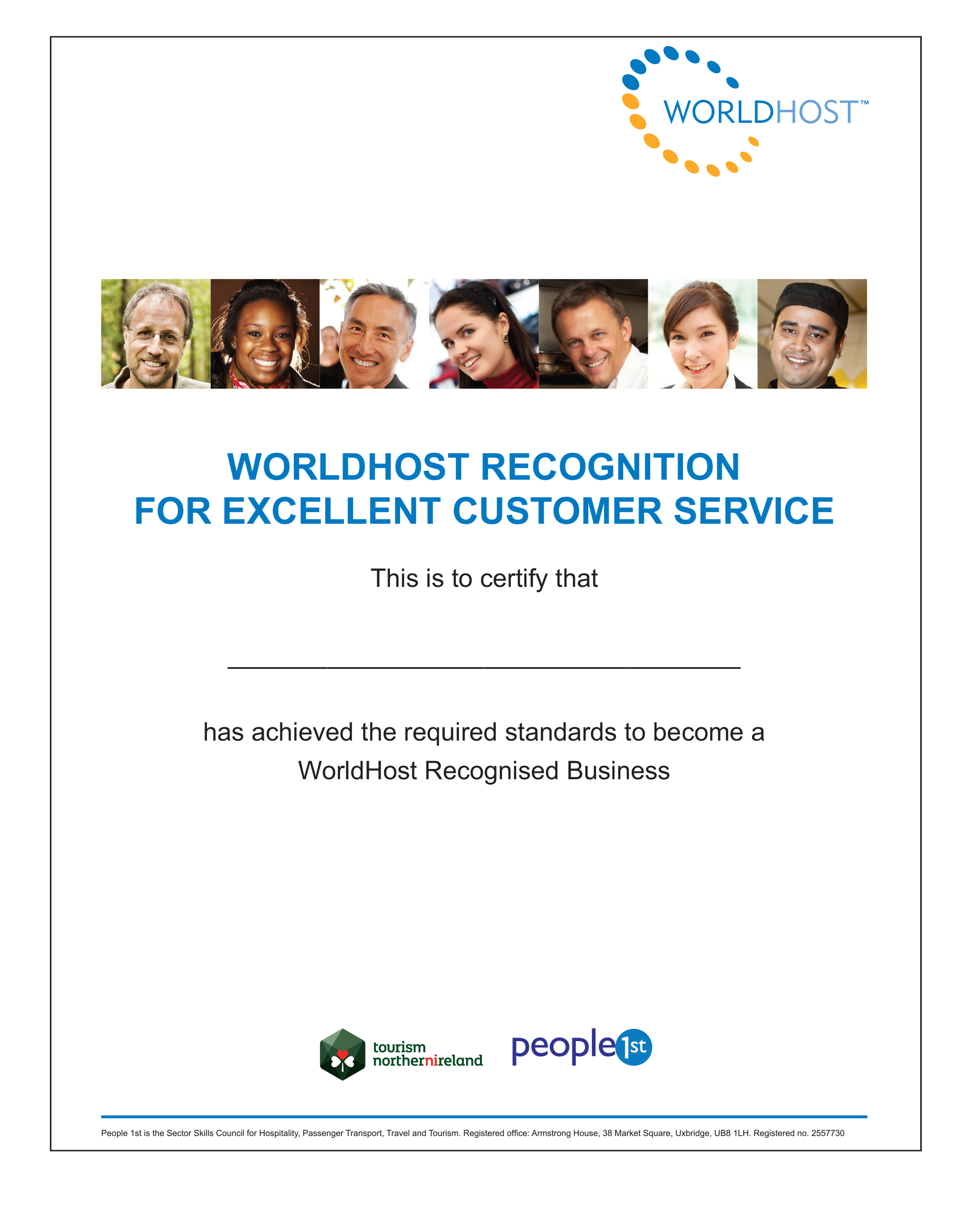 WorldHost Recognition Cert