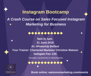 Instagram training and content creation bootcamp Belfast June 21 InstaMeetBootcamp