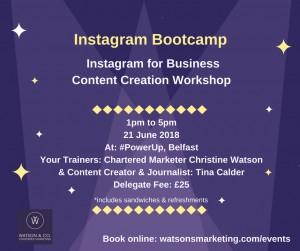 Instagram content creation workshop InstaMeetBootcamp InstaMeetBelfast