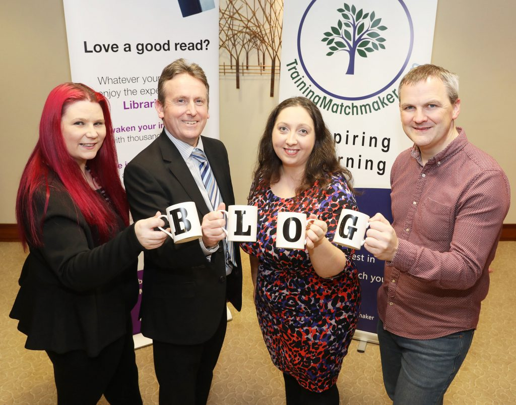 Pictured Tina Calder (trainer Excalibur Press), Jim O'Hagan (CEO Libraries NI), Christine Watson, Chartered Marketer at Watson & Co. Chartered Marketing (TrainingMatchmaker.com founder), Ciaran Connolly (trainer Profile Tree)