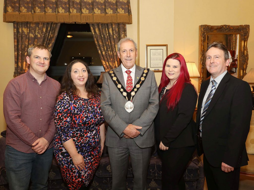 Pictured Ciaran Connolly (trainer Profile Tree), Christine Watson, Chartered Marketer at Watson & Co. Chartered Marketing (TrainingMatchmaker.com founder), Councillor Uel Mackin (Mayor of Lisburn & Castlereagh City Council), Tina Calder (trainer Excalibur Press), Jim O'Hagan (CEO Libraries NI)