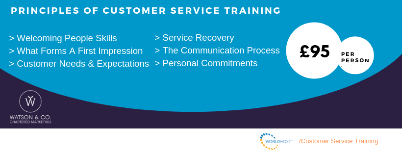 WorldHost Principles of Customer Service Training Course by Chartered Marketer Christine Watson Watson and Co Chartered Marketing Belfast Northern Ireland workshop promotional graphic