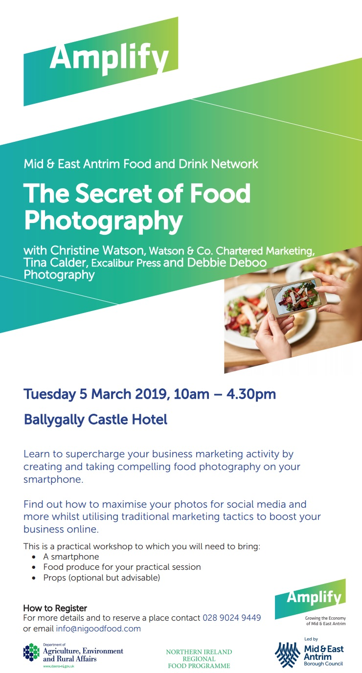 Food Photography training workshop Northern Ireland by Chartered Marketer Christine Watson founder of TrainingMatchmaker dot com for mid and east antrim borough council event promotional flyer image