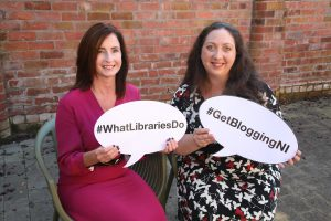 Christine Watson founder of Watson and Co Chartered Marketing and Training Matchmaker with Julie Reid of Libraries NI at the launch of the latest Get Blogging NI series of events across Northern Ireland