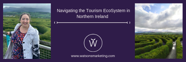 "Web Banner with the slogan ""Navigating the Tourism in Northern Ireland"" with Chartered Marketer Christine Watson standing in front of the Peace Maze"