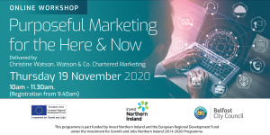 Purposeful marketing for the here and now business event by Enterprise NI for Belfast city council delivered by Chartered Marketer Christine Watson