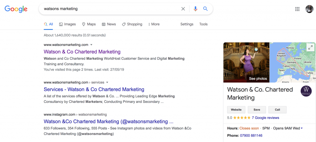 Google my business listing demonstration image featuring watson and co chartered marketing