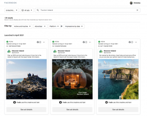facebook ad library insights tourism ireland marketing sostac situational analysis tools curated by Chartered marketer christine watson watson and co chartered marketing belfast northern ireland